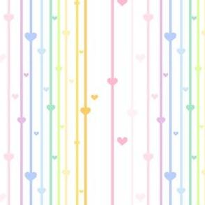 Rainbow Pastel - Thinstriped Beaded Hearts -  © PinkSodaPop 4ComputerHeaven.com