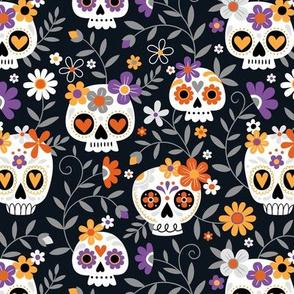 Sugar Skull Embroidery / Black / Small Scale