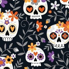 Sugar Skull Embroidery /  Black / Large Scale