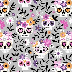 Sugar Skull Embroidery / Cool Grey / Small Scale
