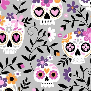 Sugar Skull Embroidery / Cool Grey / Large Scale