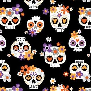 Floral Sugar Skull /  Black  / Small Scale