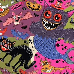 batty, catty and fishy(?!) for Halloween, large scale, black, pink, purple, red, green, blue, yellow gold
