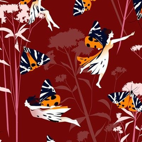 the jersey tiger moth fairy - red large