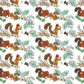 Squirrel Winter Floral small print