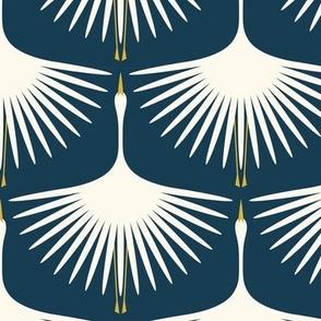 "Art Deco Swans (6"") - Navy"