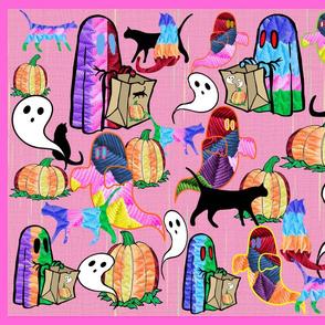Halloween Otomi Quilt Pink 2
