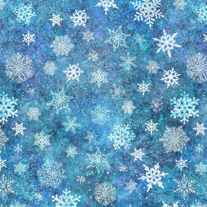 Whinsical snowflakes handpainted with watercolors