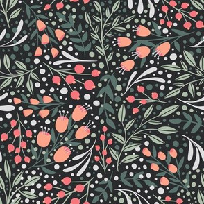 Secret Garden - Small Ditzy floral with flowers, leaves and berries