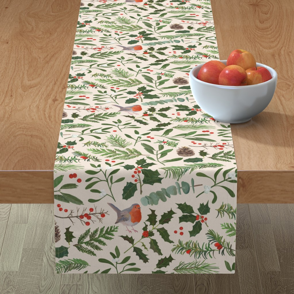 Minorca Table Runner featuring Robin in Winter  by dasbrooklyn