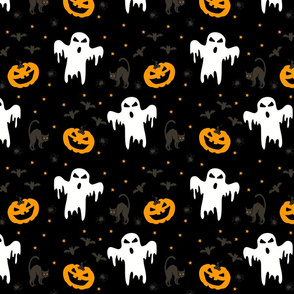 Seamless vector pattern with ghost and pumpkins on black background. Halloween wallpaper design with cats and pats. Scary fashion textile.