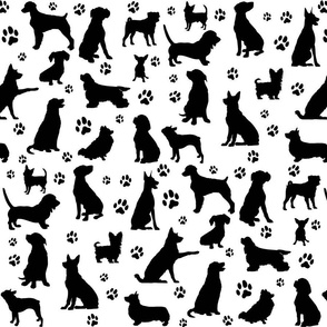 Dog Silhouettes and Paw Prints - Large