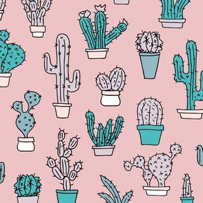 Cactus home garden summer succulents and cacti plants botanical illustrations summer swim mauve pink blue
