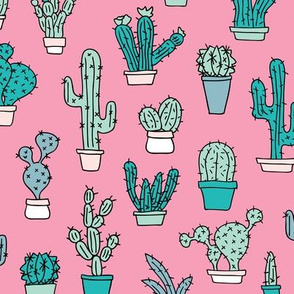 Cactus home garden summer succulents and cacti plants botanical illustrations summer swim pink blue mint
