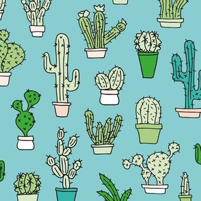 Cactus home garden summer succulents and cacti plants botanical illustrations summer swim green blue