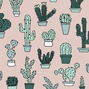 Cactus home garden summer succulents and cacti plants botanical illustrations summer swim beige green mint