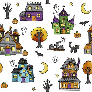 haunted houses on white