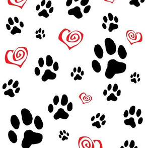 Paws Pawprints and Hearts - Black and Red on white