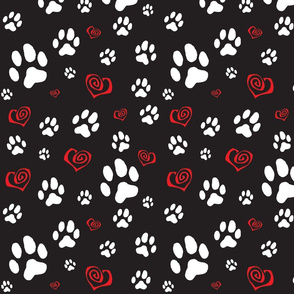 Paws_pawprints_and_hearts_-_white_and_red_on_black