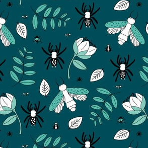 Insects and spider garden botanical creepy bugs flies and leaves night blue mint