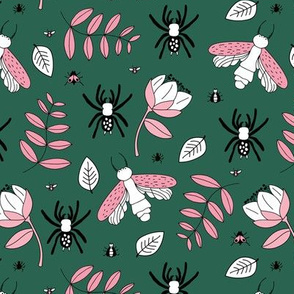 Insects and spider garden botanical creepy bugs flies and leaves night forest green pink