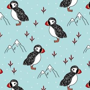Little puffin birds winter wonderlands and ice snow mountains blue neutral