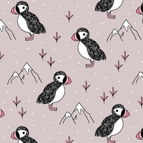 Little puffin birds winter wonderlands and ice snow mountains mauve pink girls
