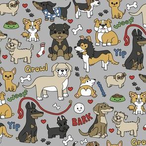 dog stuff on grey
