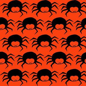 Black Spiders on Halloween Pumpkin Orange