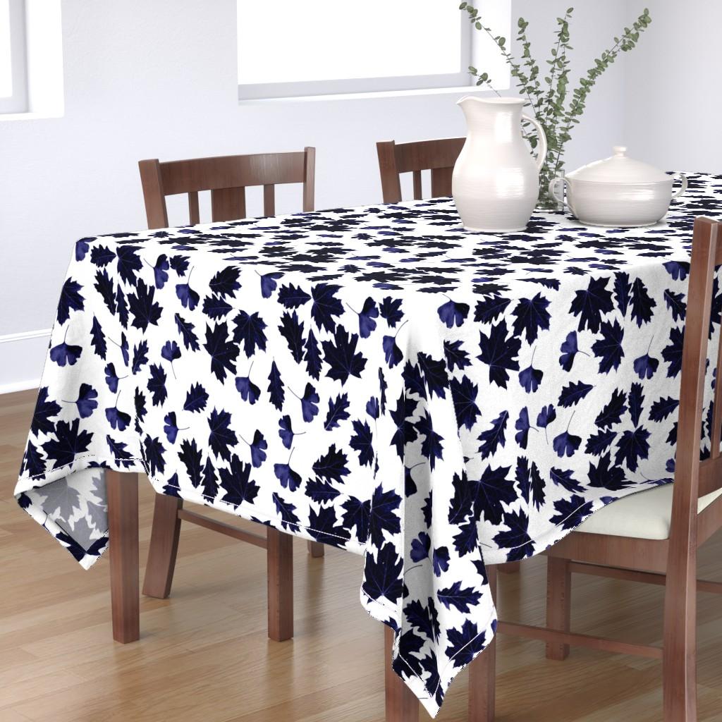Bantam Rectangular Tablecloth featuring Sun dyed indigo leaves by jennifer_rizzo