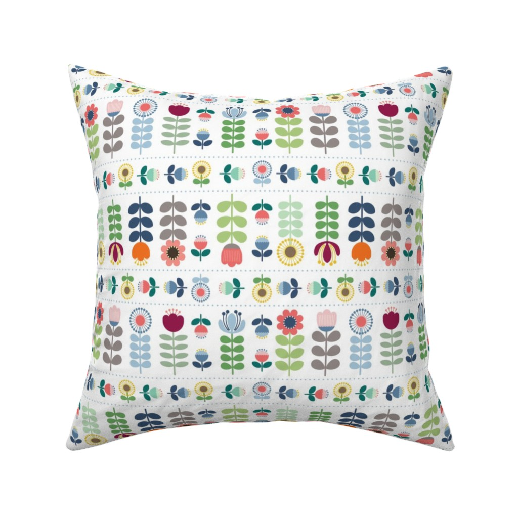 Catalan Throw Pillow featuring Scandi Folk Art-Inspired Floral-White by twigged