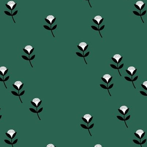 Christmas sweet cotton flowers botanical floral spring summer print spring forest green