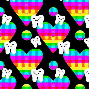 Psychedelic Rainbow Heart Teeth  / Black