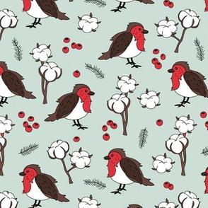 Little winter wonderland robin birds and cotton flowers neutral red mint