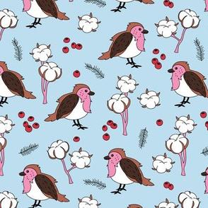 Little winter wonderland robin birds and cotton flowers blue red pink girls