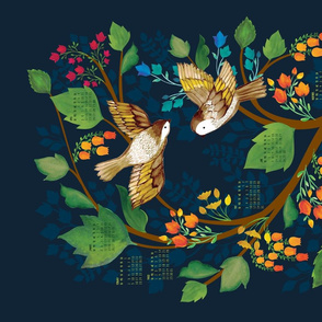 Birdsong 2020 Calendar Tea Towel