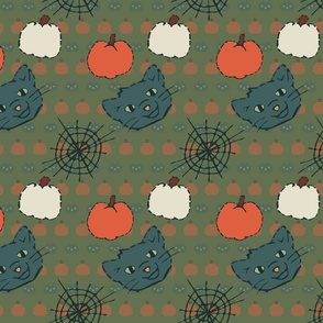 Halloween Stitched Cats and Pumpkins