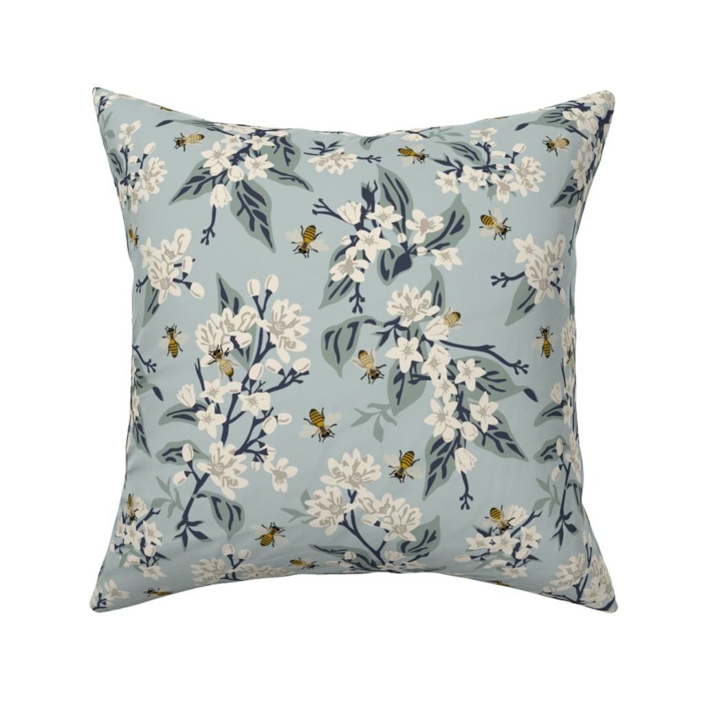 Catalan Throw Pillow featuring Flowers & Honey Bees - Large - Blue by fernlesliestudio