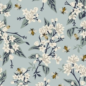 Flowers & Honey Bees - Blue