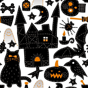 Halloween Embroidery - white background