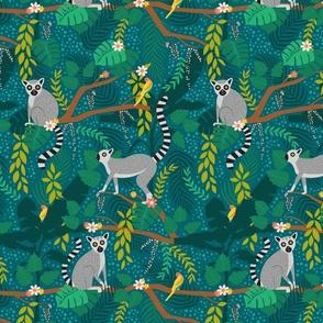Lemurs in a Teal Jungle