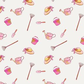 Pink Watercolor Gardening Tools