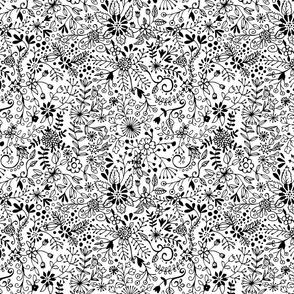 Floral Doodle Black on White
