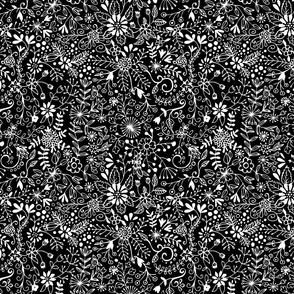 Floral Doodle White on Black