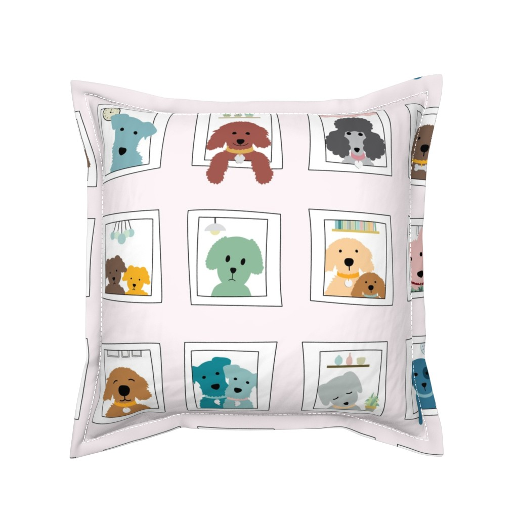 Serama Throw Pillow featuring Dogs in the Window by twigged