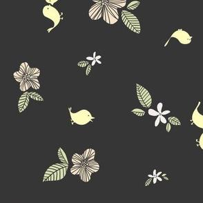 Little Yellow Birdies on Grey