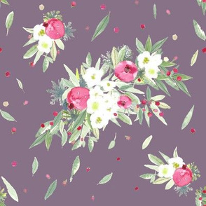 winter floral on plum