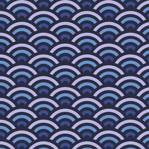 Blue Gradient Seigaiha
