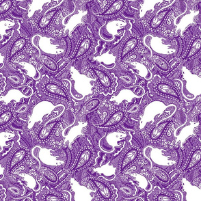 Paisley Rats - medium small - purple white