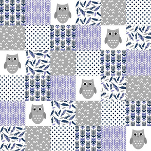 3 inch Purple Navy Grey Owl Patchwork